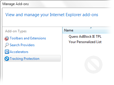 IE Tracking Protection